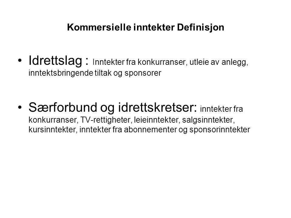 Kommersielle inntekter Definisjon Idrettslag : Inntekter fra konkurranser, utleie av anlegg, inntektsbringende tiltak og sponsorer Særforbund og idret