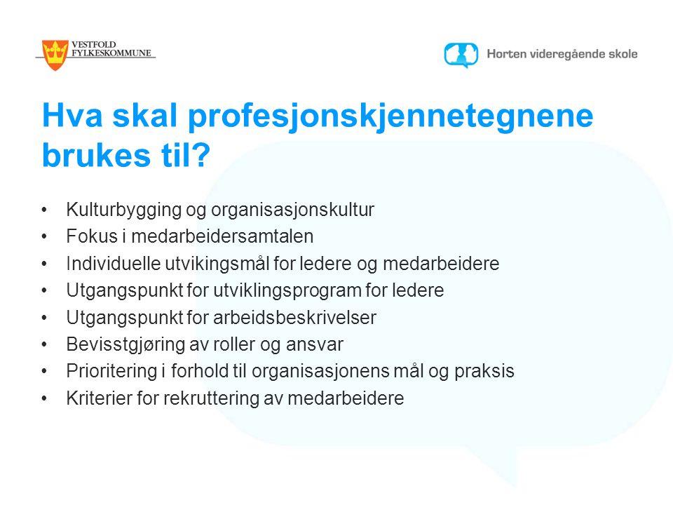 Hva skal profesjonskjennetegnene brukes til? Kulturbygging og organisasjonskultur Fokus i medarbeidersamtalen Individuelle utvikingsmål for ledere og
