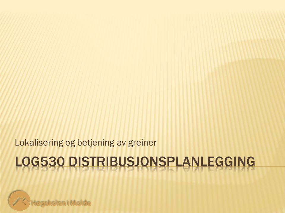LOG530 Distribusjonsplanlegging 12 Lokalisering og betjening av greiner 1122 44 55 33 66 88 77 99 2 2 4 4 5 5 8 8 3 3 4 4 3 3 7 7 4 4 3 3 8 8 3 3 5 5 6 6 12 2 2 Det finnes alternative løsninger.