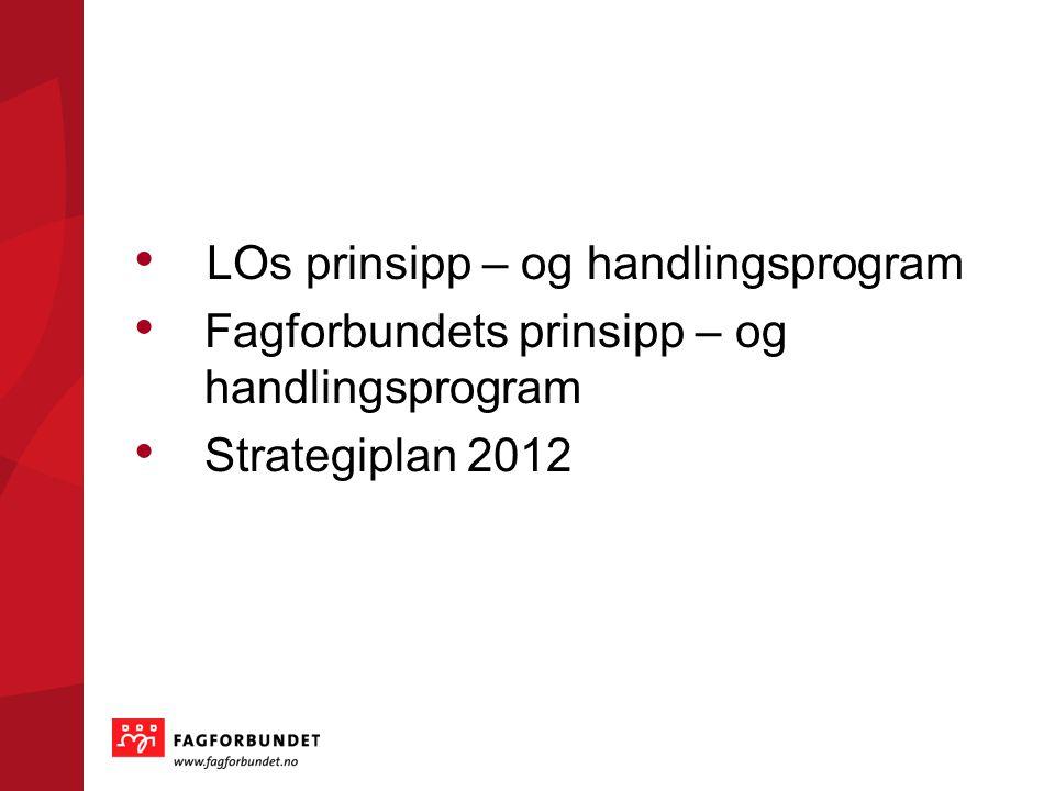 LOs prinsipp – og handlingsprogram Fagforbundets prinsipp – og handlingsprogram Strategiplan 2012