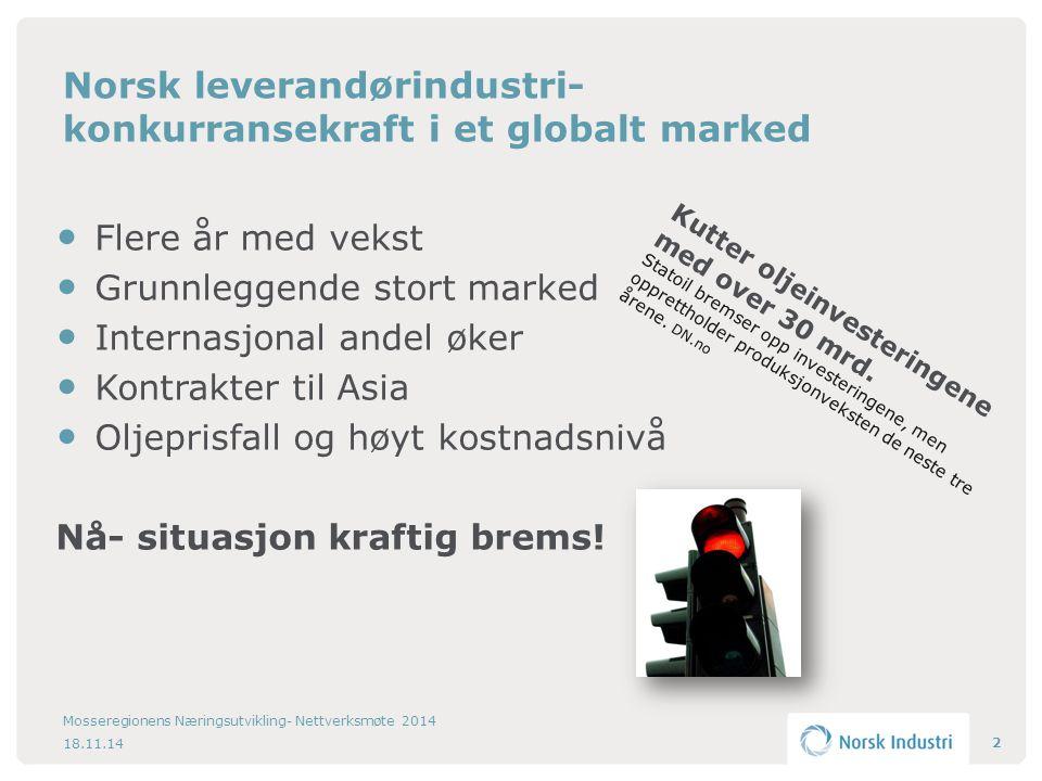 Norsk leverandørindustri- konkurransekraft i et globalt marked Flere år med vekst Grunnleggende stort marked Internasjonal andel øker Kontrakter til Asia Oljeprisfall og høyt kostnadsnivå Nå- situasjon kraftig brems.