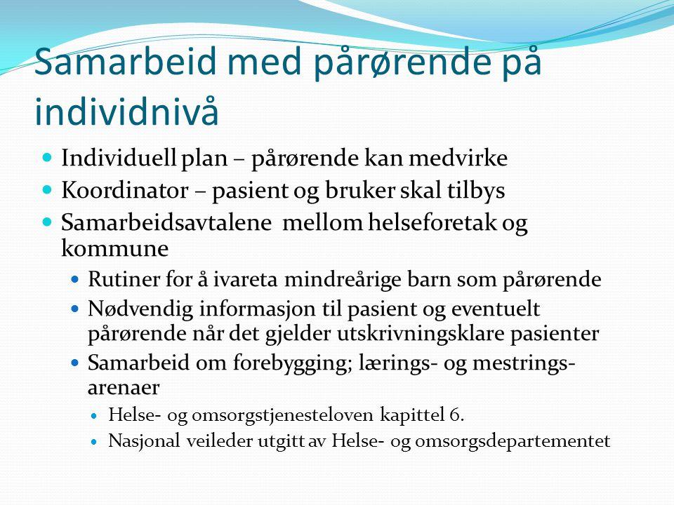 Samarbeid med pårørende på individnivå Individuell plan – pårørende kan medvirke Koordinator – pasient og bruker skal tilbys Samarbeidsavtalene mellom