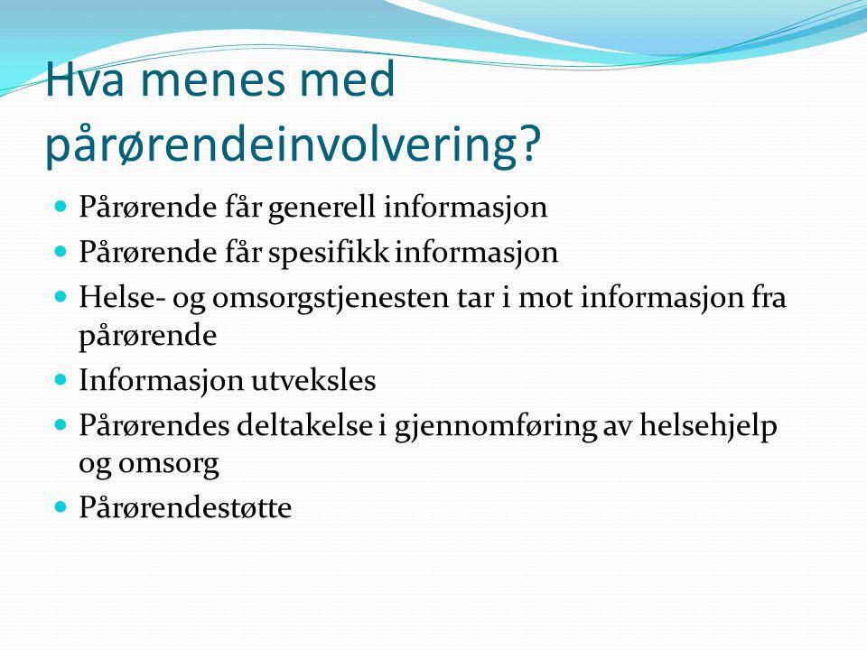 Hva menes med pårørendeinvolvering? Pårørende får generell informasjon Pårørende får spesifikk informasjon Helse- og omsorgstjenesten tar i mot inform