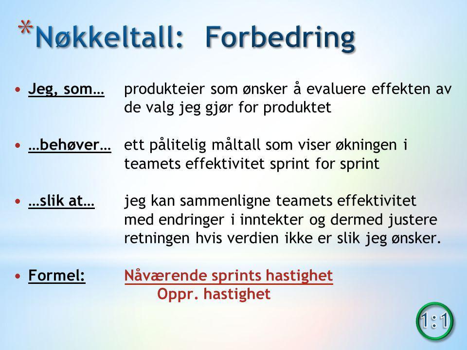 Jeg, som… produkteier som ønsker å evaluere effekten av de valg jeg gjør for produktet …behøver…ett pålitelig måltall som viser økningen i teamets effektivitet sprint for sprint …slik at…jeg kan sammenligne teamets effektivitet med endringer i inntekter og dermed justere retningen hvis verdien ikke er slik jeg ønsker.