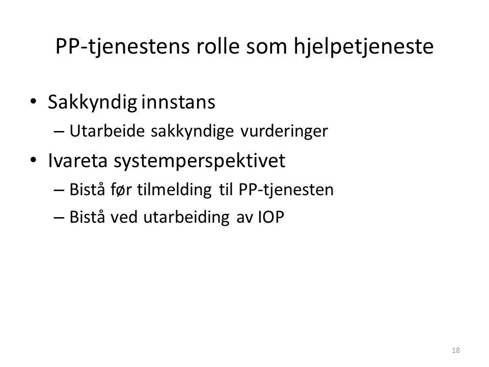 PP-tjenestens rolle som hjelpetjeneste Sakkyndig innstans – Utarbeide sakkyndige vurderinger Ivareta systemperspektivet – Bistå før tilmelding til PP-