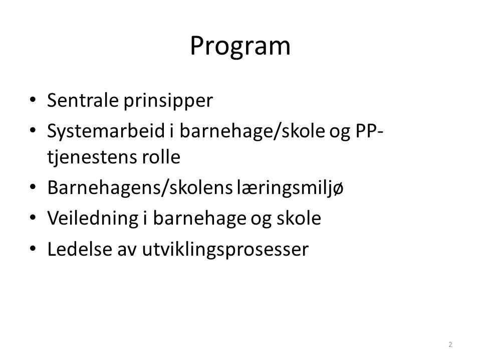 Program Sentrale prinsipper Systemarbeid i barnehage/skole og PP- tjenestens rolle Barnehagens/skolens læringsmiljø Veiledning i barnehage og skole Le