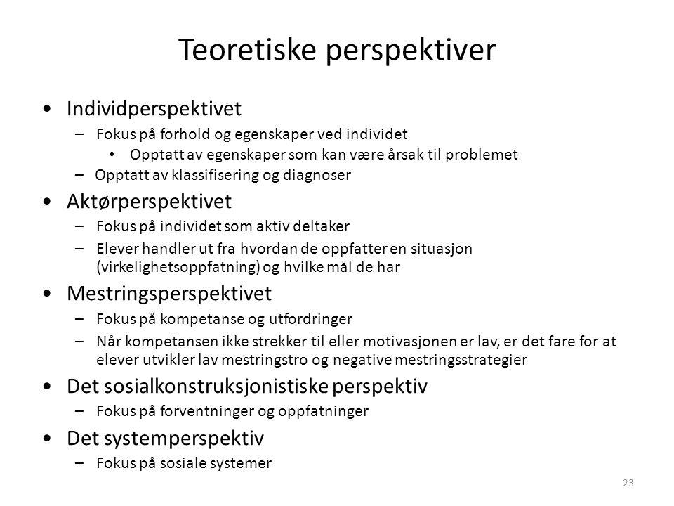 23 Teoretiske perspektiver Individperspektivet –Fokus på forhold og egenskaper ved individet Opptatt av egenskaper som kan være årsak til problemet –