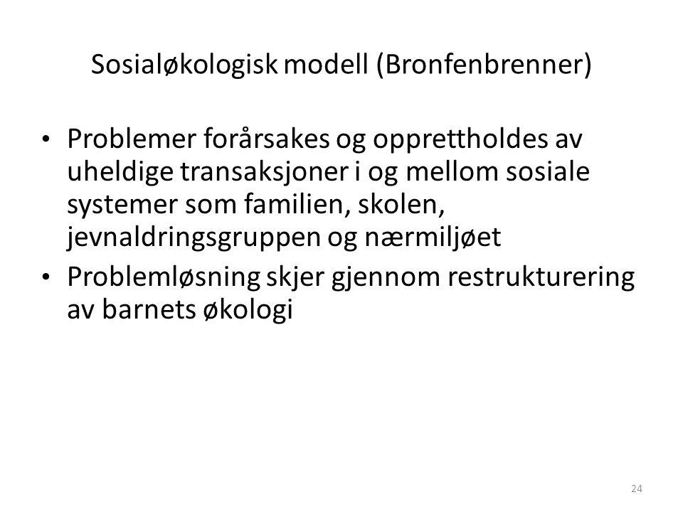 Sosialøkologisk modell (Bronfenbrenner) Problemer forårsakes og opprettholdes av uheldige transaksjoner i og mellom sosiale systemer som familien, sko