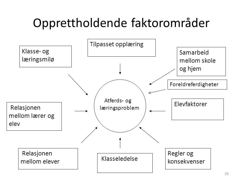 Opprettholdende faktorområder Atferds- og læringsproblem Tilpasset opplæring Relasjonen mellom lærer og elev Relasjonen mellom elever Samarbeid mellom