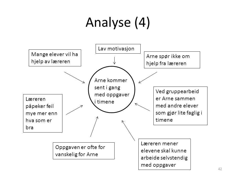 Analyse (4) 42 Arne kommer sent i gang med oppgaver i timene Mange elever vil ha hjelp av læreren Arne spør ikke om hjelp fra læreren Læreren påpeker