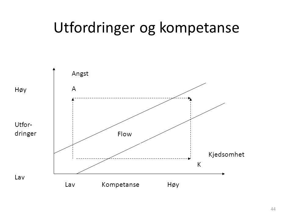 44 Utfordringer og kompetanse Flow Høy Utfor- dringer Lav Lav Kompetanse Høy Angst Kjedsomhet A K