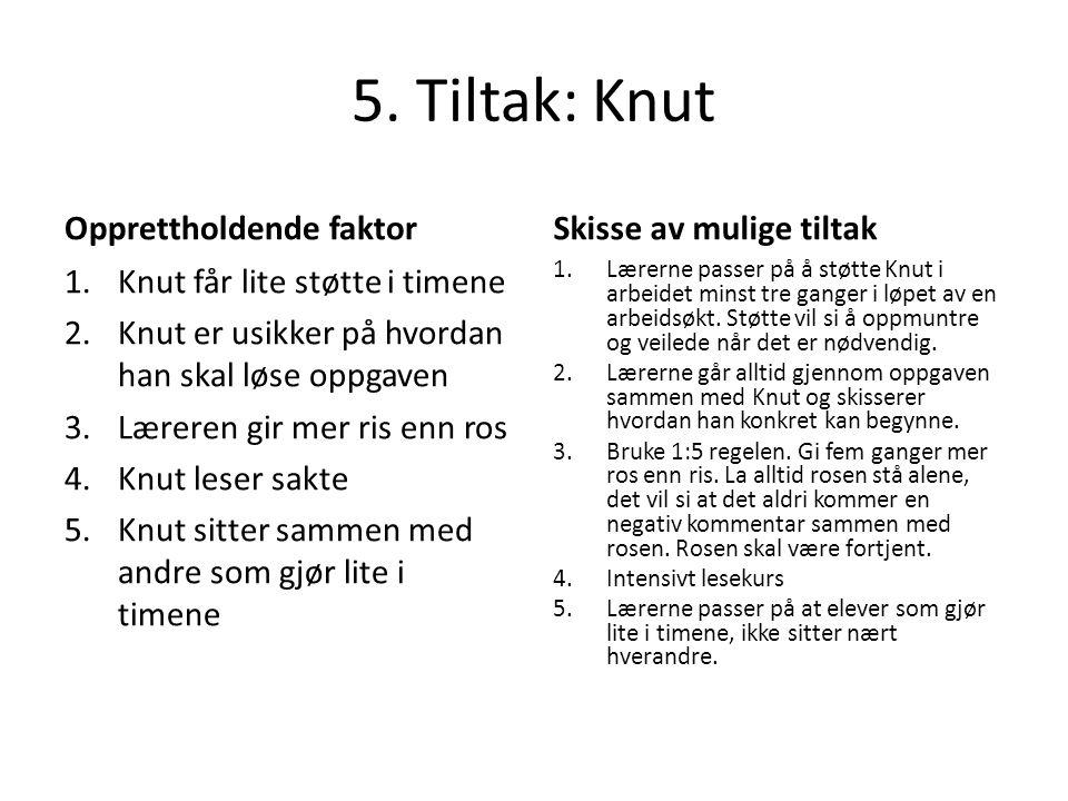 5. Tiltak: Knut Opprettholdende faktor 1.Knut får lite støtte i timene 2.Knut er usikker på hvordan han skal løse oppgaven 3.Læreren gir mer ris enn r
