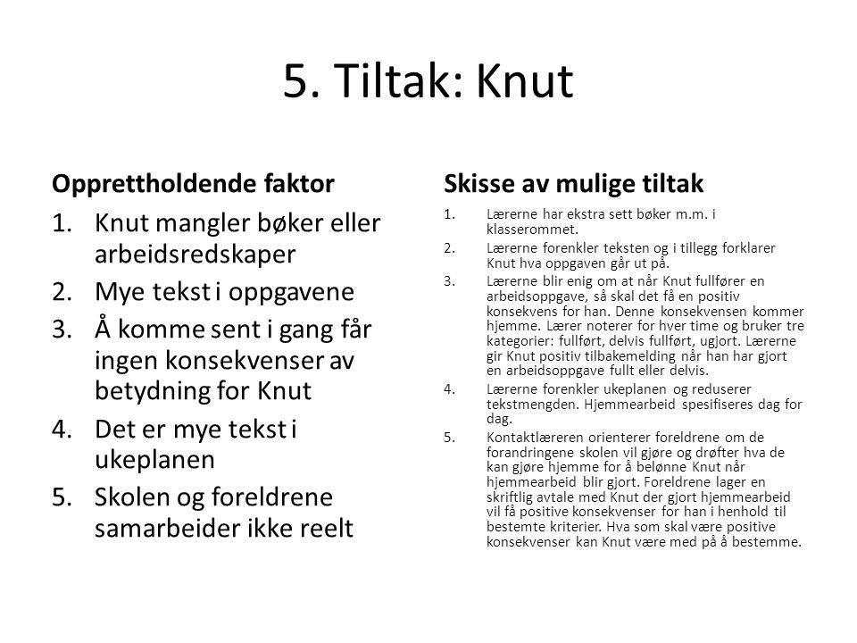 5. Tiltak: Knut Opprettholdende faktor 1.Knut mangler bøker eller arbeidsredskaper 2.Mye tekst i oppgavene 3.Å komme sent i gang får ingen konsekvense