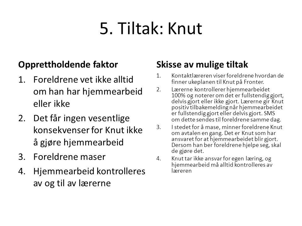 5. Tiltak: Knut Opprettholdende faktor 1.Foreldrene vet ikke alltid om han har hjemmearbeid eller ikke 2.Det får ingen vesentlige konsekvenser for Knu