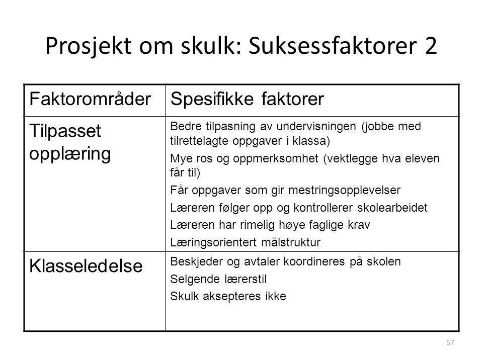 Prosjekt om skulk: Suksessfaktorer 2 FaktorområderSpesifikke faktorer Tilpasset opplæring Bedre tilpasning av undervisningen (jobbe med tilrettelagte