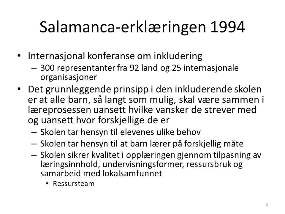 Salamanca-erklæringen 1994 Internasjonal konferanse om inkludering – 300 representanter fra 92 land og 25 internasjonale organisasjoner Det grunnlegge