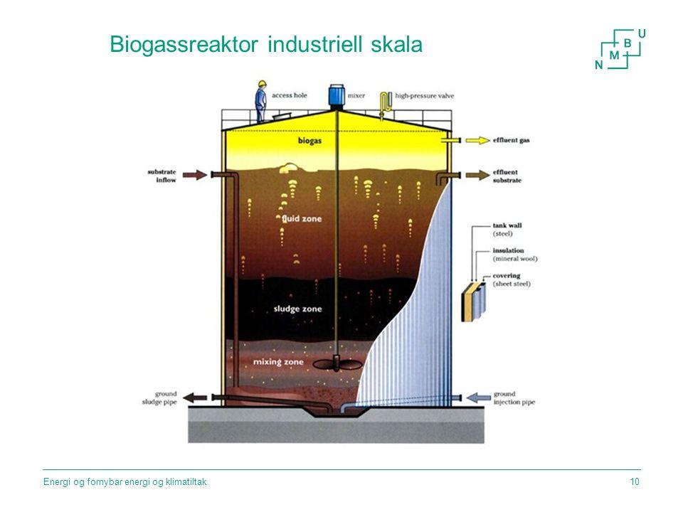 Biogassreaktor industriell skala Energi og fornybar energi og klimatiltak10