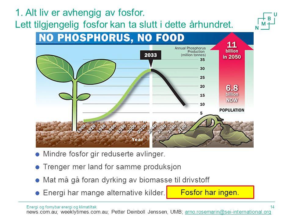 1. Alt liv er avhengig av fosfor. Lett tilgjengelig fosfor kan ta slutt i dette århundret. Energi og fornybar energi og klimatiltak news.com.au; weekl