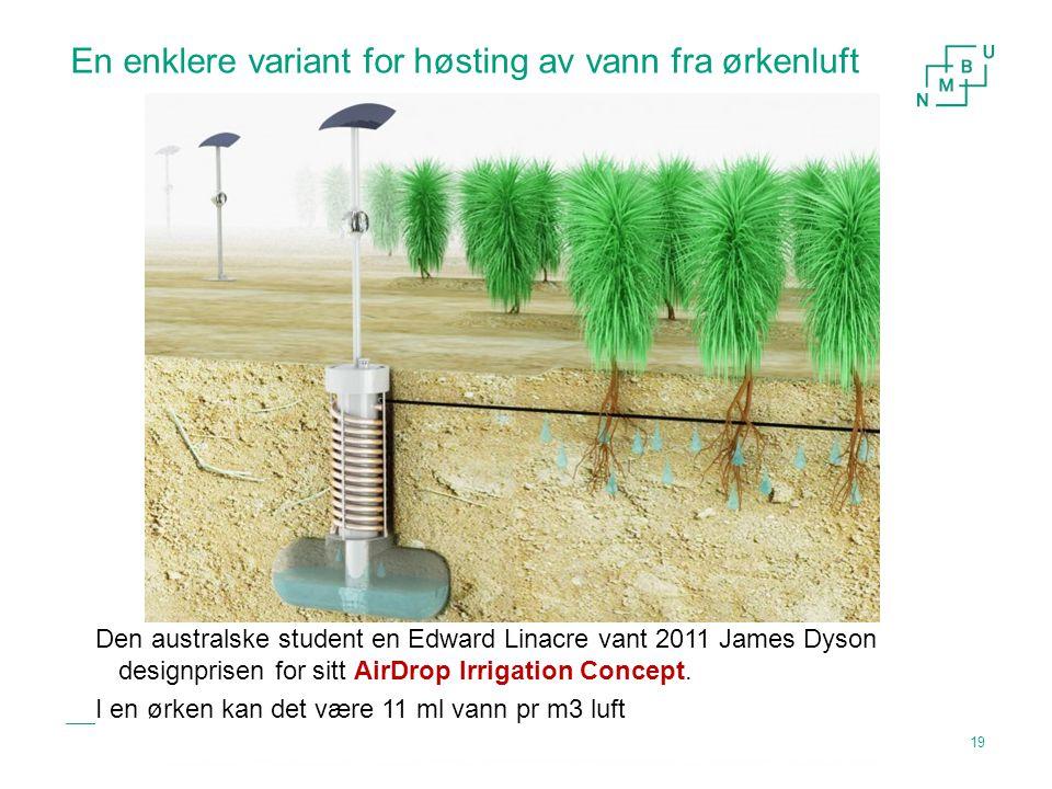 En enklere variant for høsting av vann fra ørkenluft Energi og fornybar energi og klimatiltak Den australske student en Edward Linacre vant 2011 James