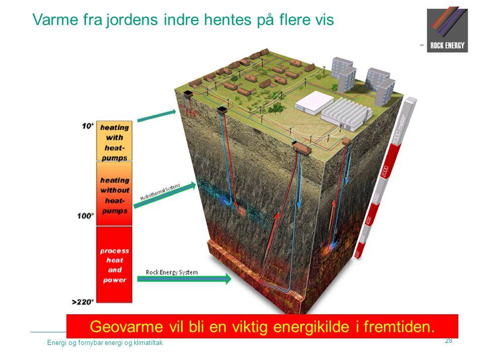 Energi og fornybar energi og klimatiltak Varme fra jordens indre hentes på flere vis Geovarme vil bli en viktig energikilde i fremtiden. 28