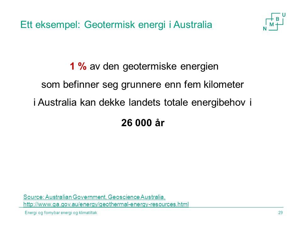 Ett eksempel: Geotermisk energi i Australia 1 % av den geotermiske energien som befinner seg grunnere enn fem kilometer i Australia kan dekke landets