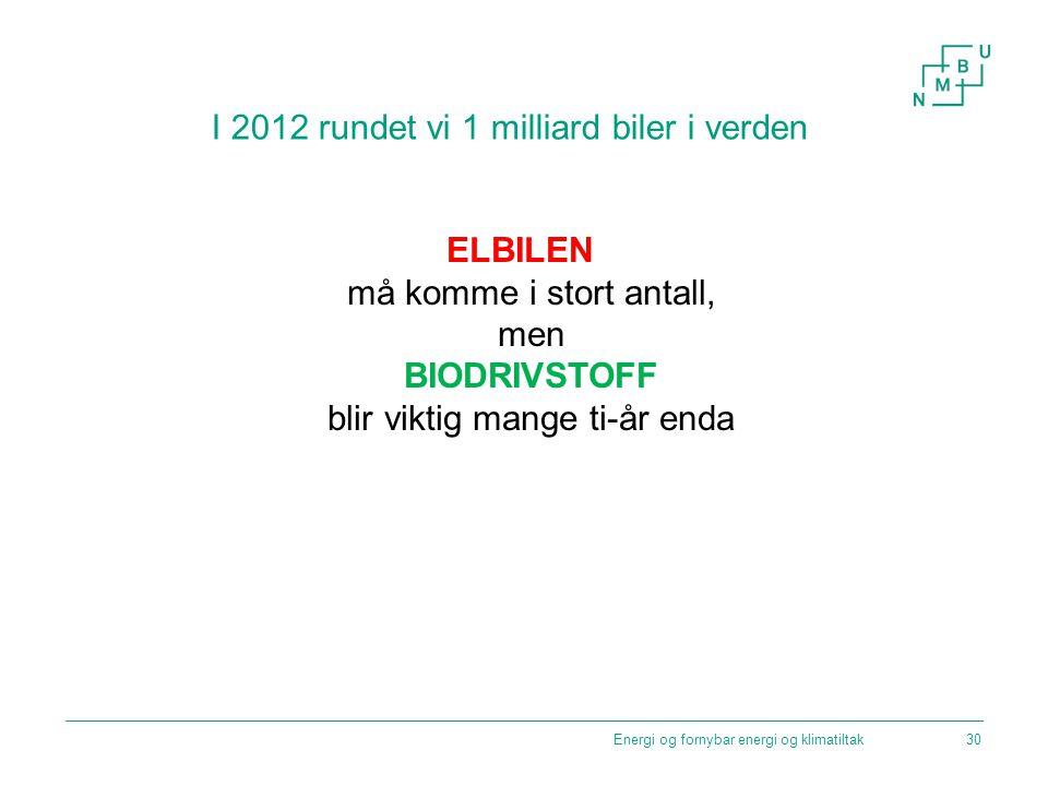 Energi og fornybar energi og klimatiltak I 2012 rundet vi 1 milliard biler i verden ELBILEN må komme i stort antall, men BIODRIVSTOFF blir viktig mang