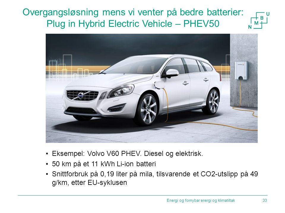 Overgangsløsning mens vi venter på bedre batterier: Plug in Hybrid Electric Vehicle – PHEV50 Eksempel: Volvo V60 PHEV. Diesel og elektrisk. 50 km på e