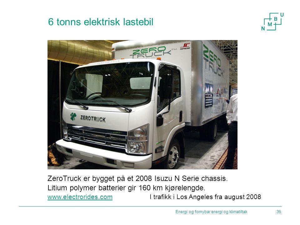 Energi og fornybar energi og klimatiltak 6 tonns elektrisk lastebil ZeroTruck er bygget på et 2008 Isuzu N Serie chassis. Litium polymer batterier gir