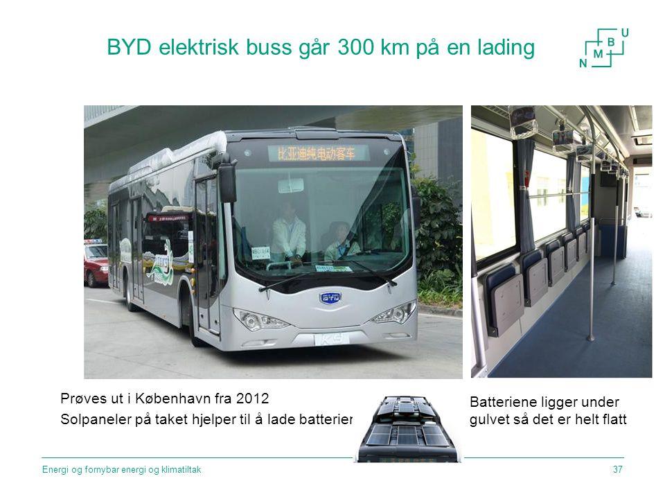 BYD elektrisk buss går 300 km på en lading Prøves ut i København fra 2012 Solpaneler på taket hjelper til å lade batteriene Batteriene ligger under gu