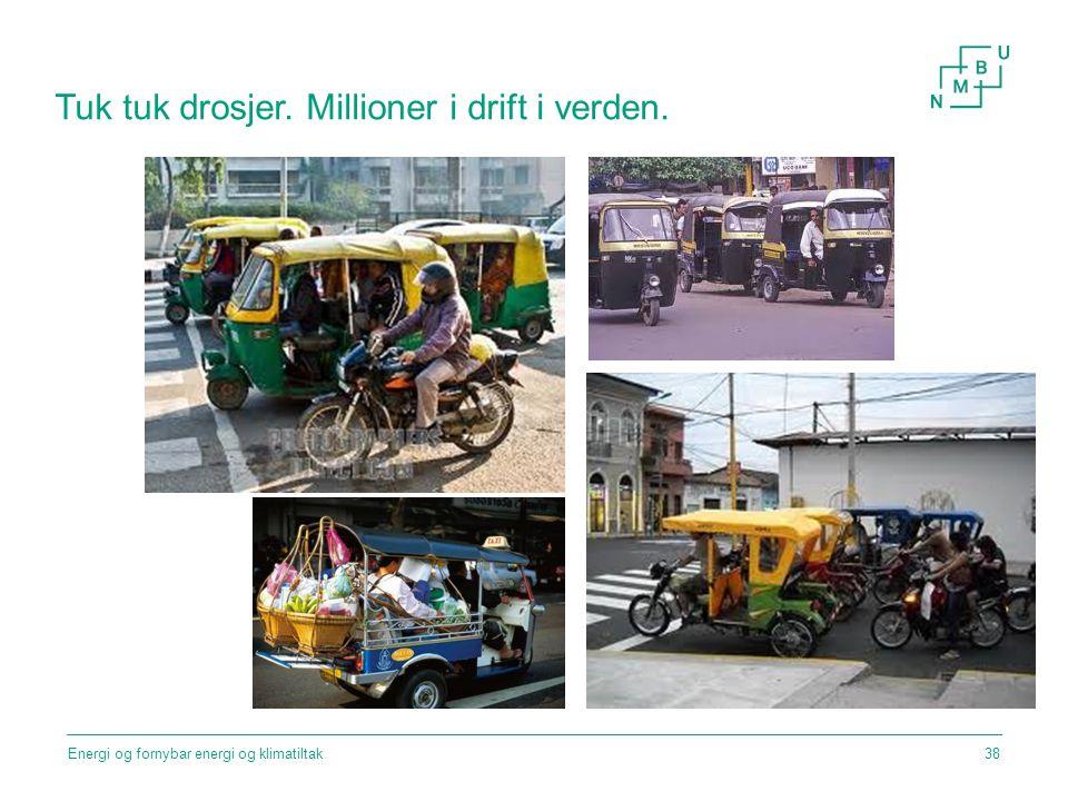 Tuk tuk drosjer. Millioner i drift i verden. Energi og fornybar energi og klimatiltak38