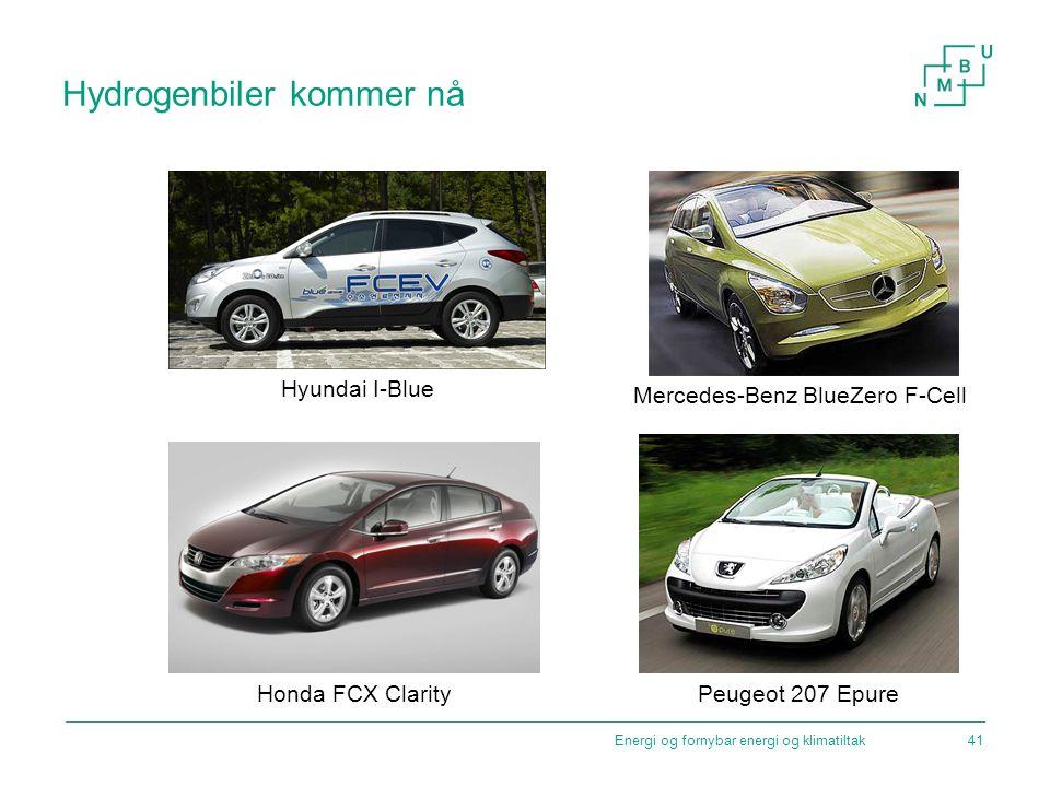 Hydrogenbiler kommer nå Energi og fornybar energi og klimatiltak Hyundai I-Blue Mercedes-Benz BlueZero F-Cell Honda FCX Clarity Peugeot 207 Epure 41