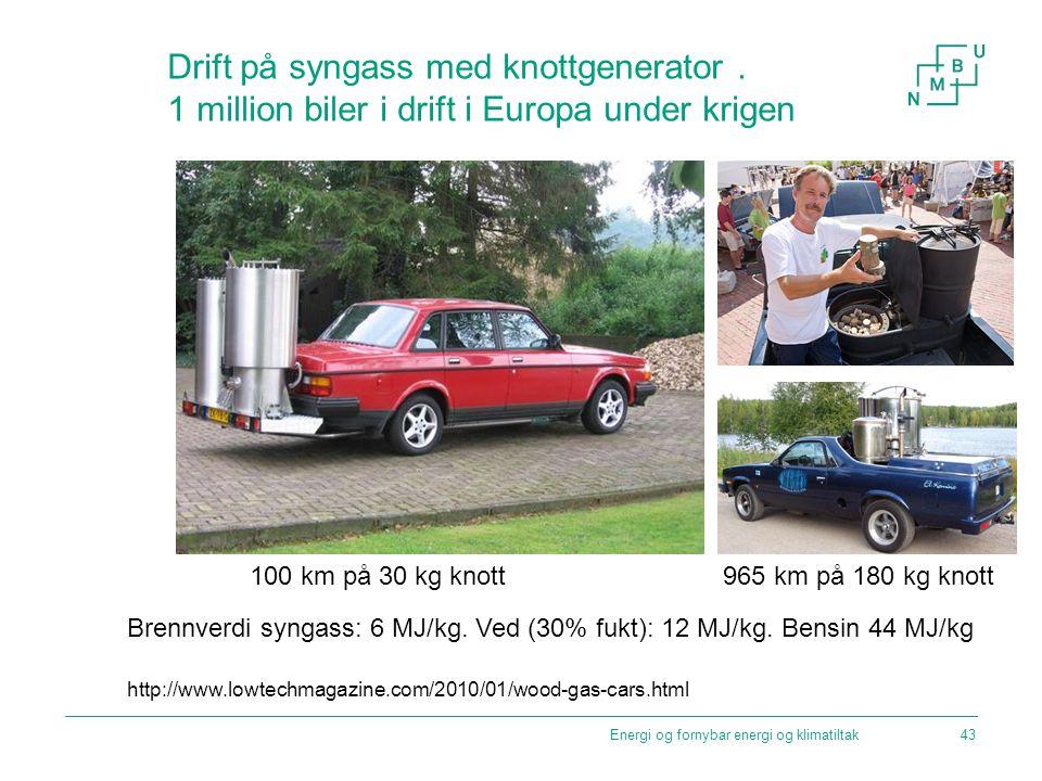 Drift på syngass med knottgenerator. 1 million biler i drift i Europa under krigen Brennverdi syngass: 6 MJ/kg. Ved (30% fukt): 12 MJ/kg. Bensin 44 MJ