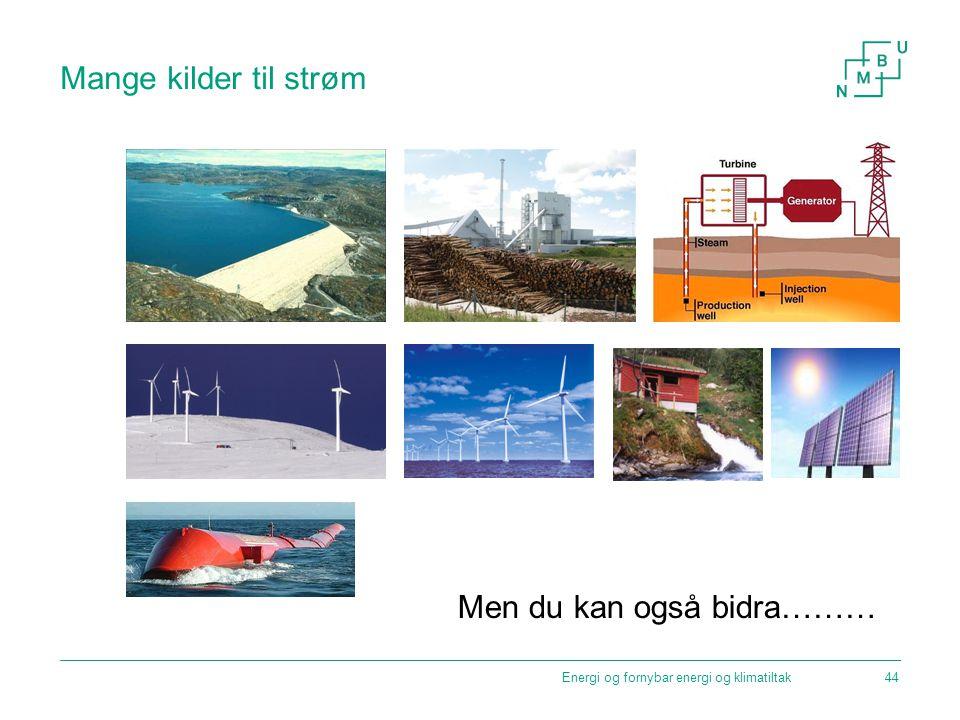 Mange kilder til strøm Men du kan også bidra……… Energi og fornybar energi og klimatiltak44