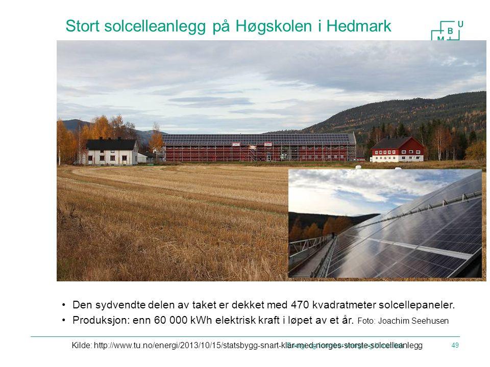 Stort solcelleanlegg på Høgskolen i Hedmark Den sydvendte delen av taket er dekket med 470 kvadratmeter solcellepaneler. Produksjon: enn 60 000 kWh el