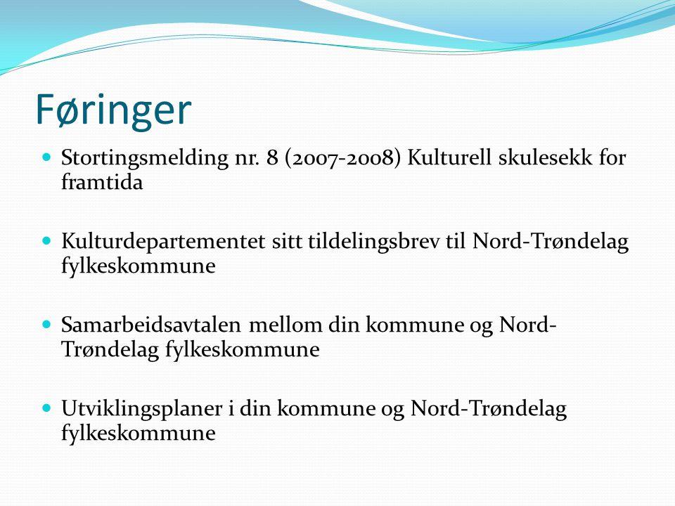 Føringer Stortingsmelding nr. 8 (2007-2008) Kulturell skulesekk for framtida Kulturdepartementet sitt tildelingsbrev til Nord-Trøndelag fylkeskommune