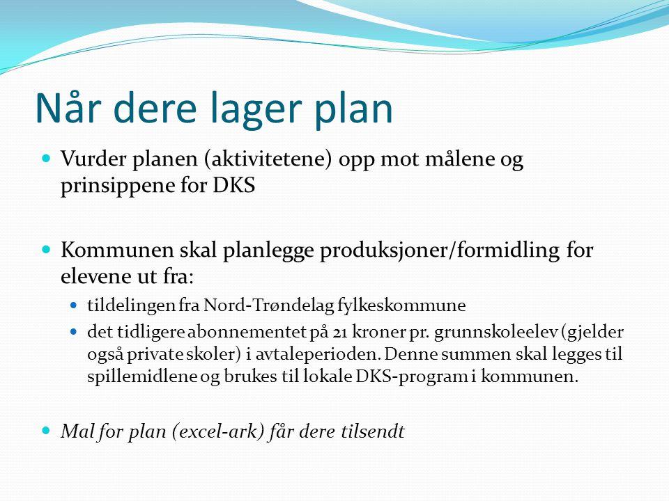 Når dere lager plan Vurder planen (aktivitetene) opp mot målene og prinsippene for DKS Kommunen skal planlegge produksjoner/formidling for elevene ut fra: tildelingen fra Nord-Trøndelag fylkeskommune det tidligere abonnementet på 21 kroner pr.