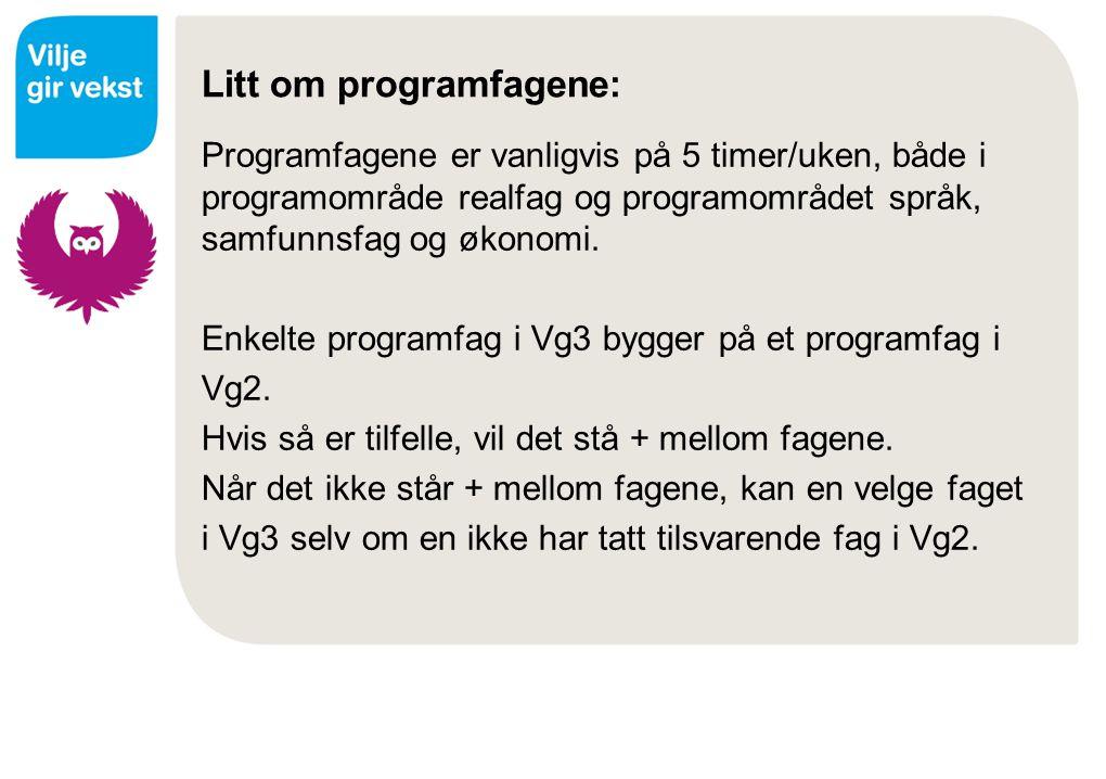 Litt om programfagene: Programfagene er vanligvis på 5 timer/uken, både i programområde realfag og programområdet språk, samfunnsfag og økonomi. Enkel