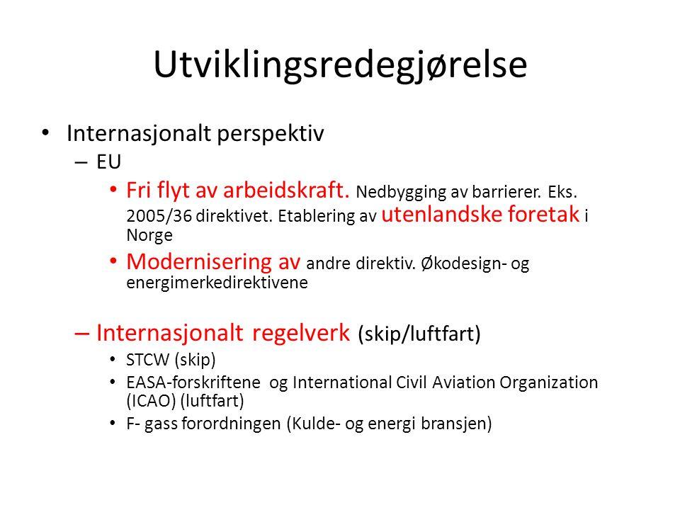 Utviklingsredegjørelse Internasjonalt perspektiv – EU Fri flyt av arbeidskraft. Nedbygging av barrierer. Eks. 2005/36 direktivet. Etablering av utenla