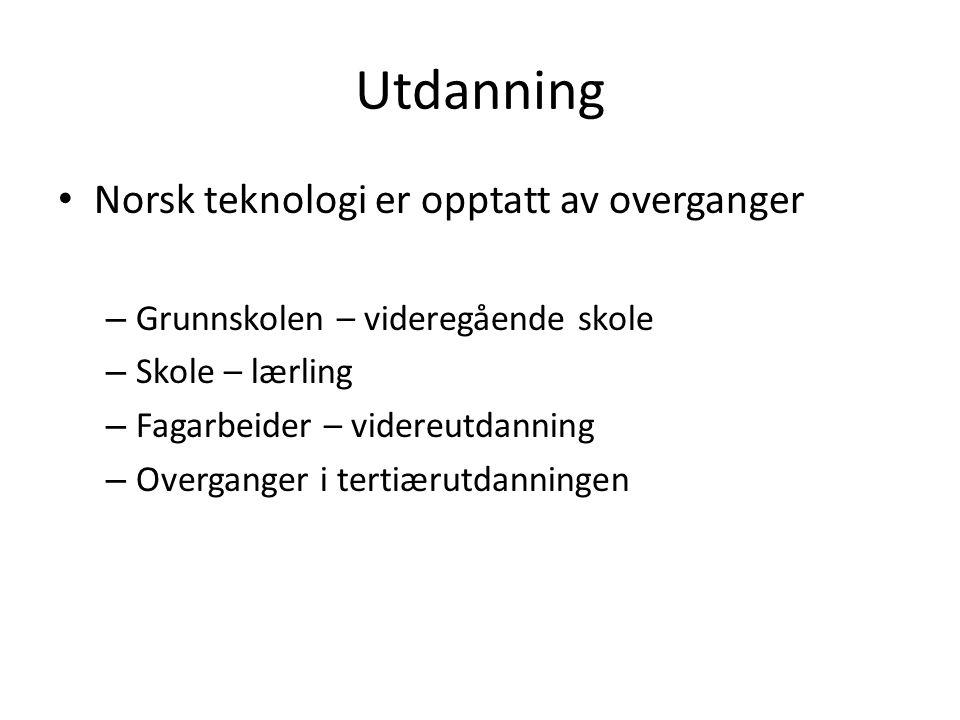 Utdanning Norsk teknologi er opptatt av overganger – Grunnskolen – videregående skole – Skole – lærling – Fagarbeider – videreutdanning – Overganger i tertiærutdanningen