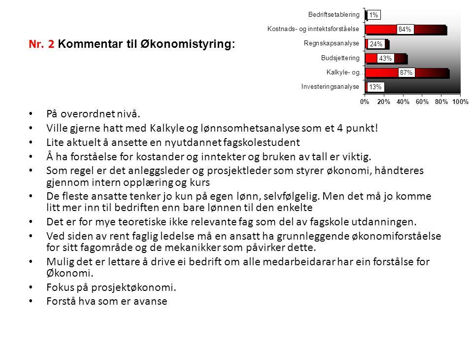 Nr.2 Kommentar til Økonomistyring: På overordnet nivå.