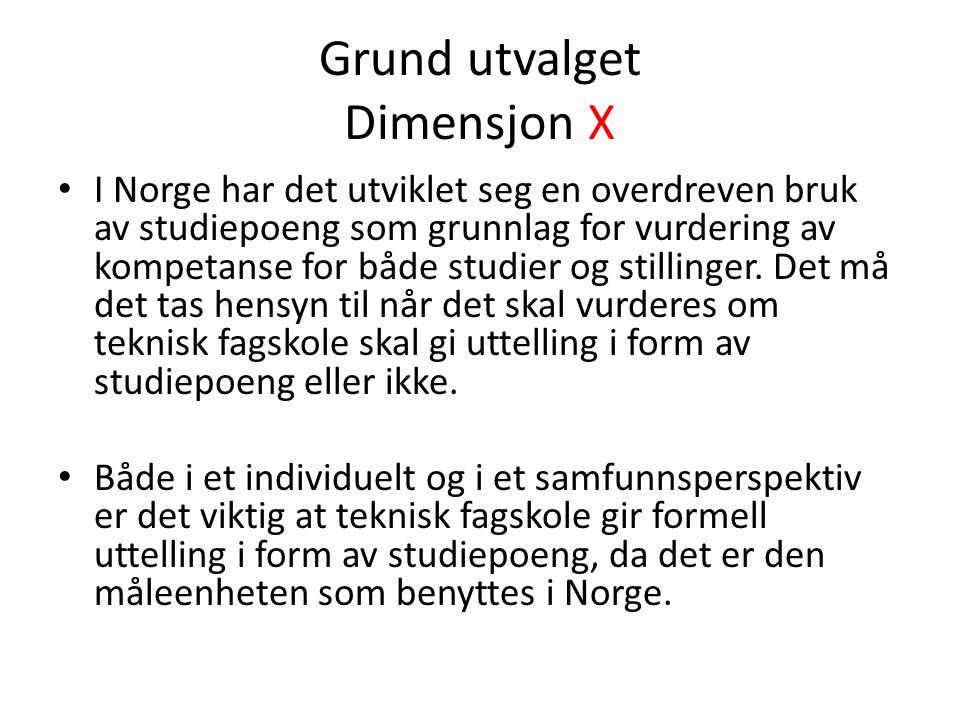 Grund utvalget Dimensjon X I Norge har det utviklet seg en overdreven bruk av studiepoeng som grunnlag for vurdering av kompetanse for både studier og