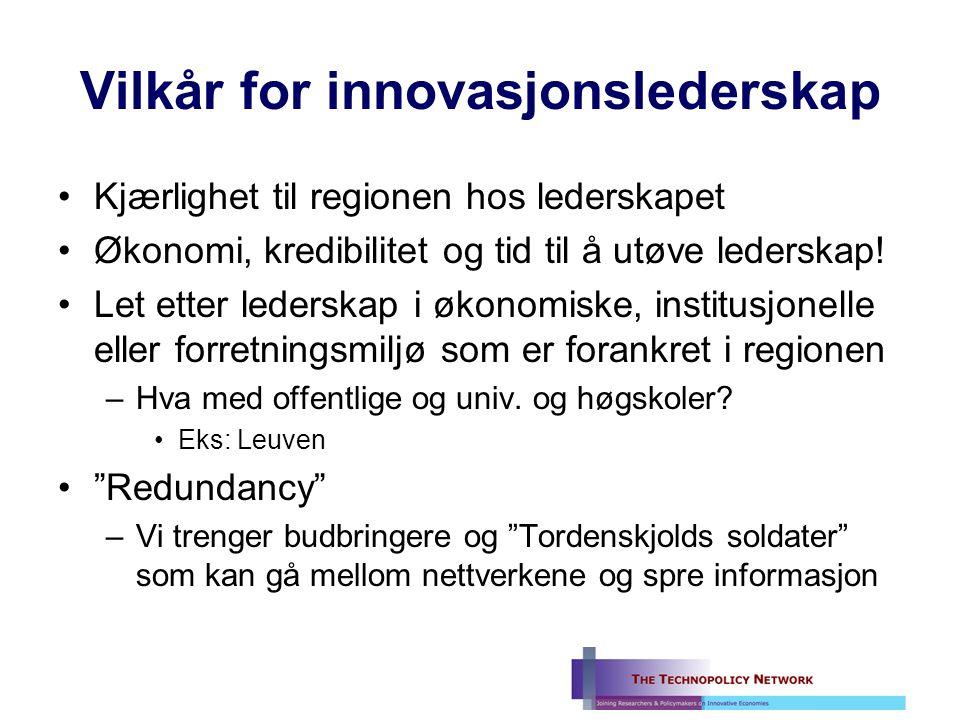 Vilkår for innovasjonslederskap Kjærlighet til regionen hos lederskapet Økonomi, kredibilitet og tid til å utøve lederskap.