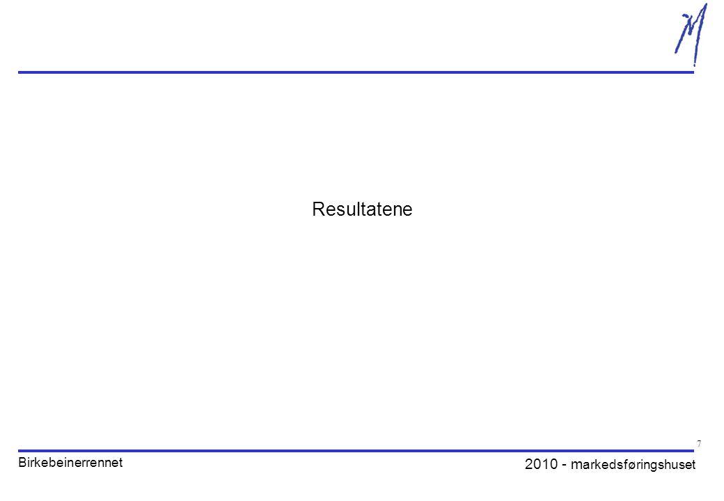 2010 - m arkedsføringshuset Birkebeinerrennet 8 Alt i alt - hvor tilfreds er du med årets arrangement.
