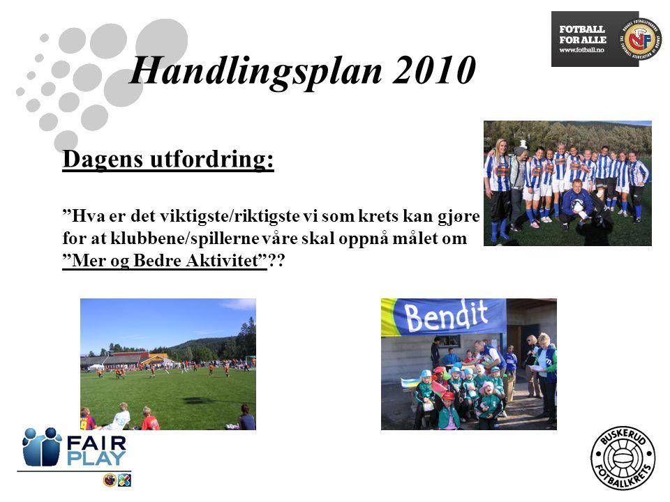 Handlingsplan 2010 Dagens utfordring: Hva er det viktigste/riktigste vi som krets kan gjøre for at klubbene/spillerne våre skal oppnå målet om Mer og Bedre Aktivitet ??