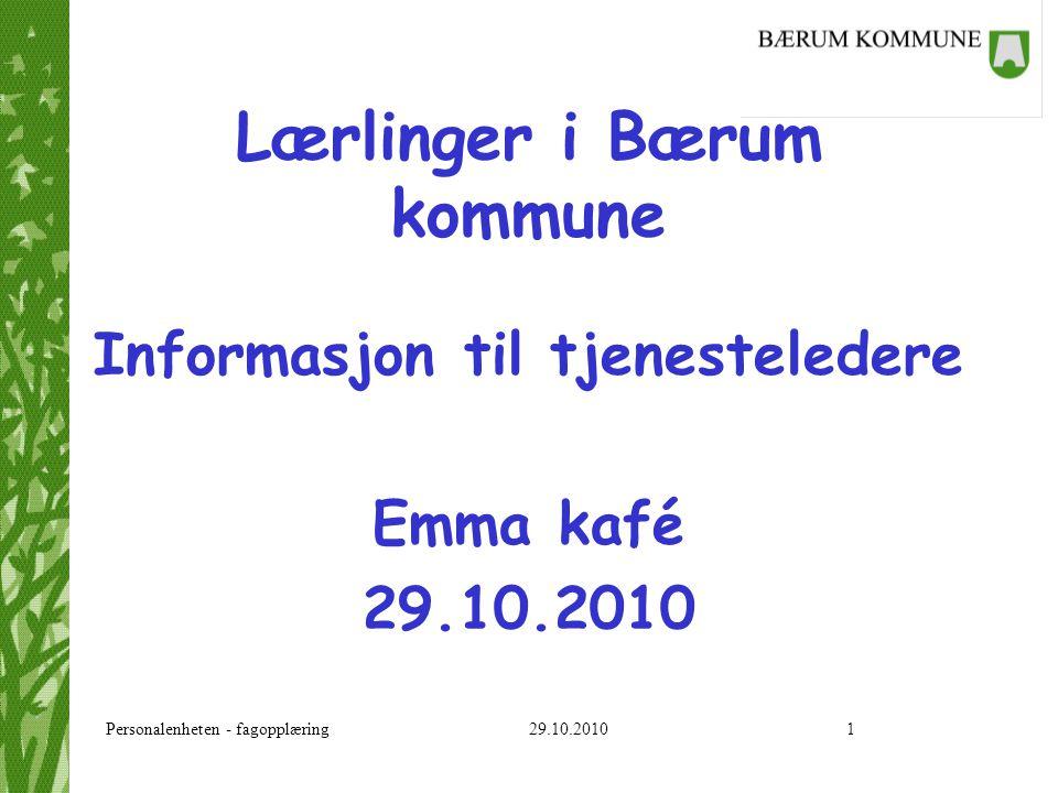 Personalenheten - fagopplæring 29.10.20102 Lærlinger i Bærum kommune Roller Lærlingen som arbeidstaker Faglig innhold i opplæringen Oppfølging Informasjon - Ansattportalen