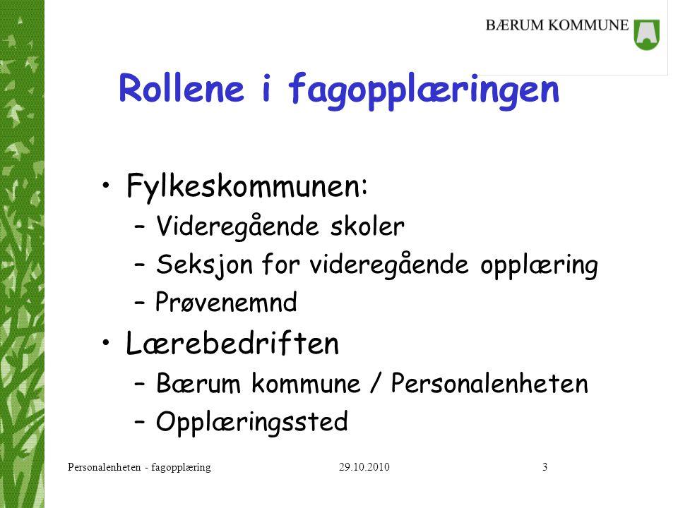 Personalenheten - fagopplæring 29.10.20103 Rollene i fagopplæringen Fylkeskommunen: –Videregående skoler –Seksjon for videregående opplæring –Prøvenem