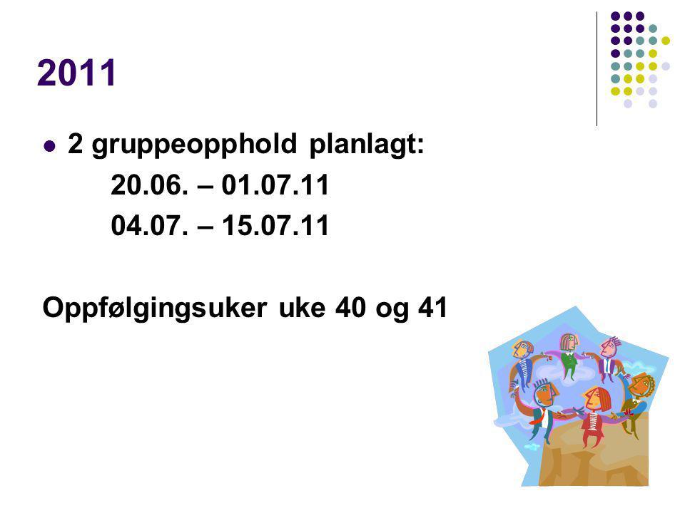 2011 2 gruppeopphold planlagt: 20.06. – 01.07.11 04.07. – 15.07.11 Oppfølgingsuker uke 40 og 41