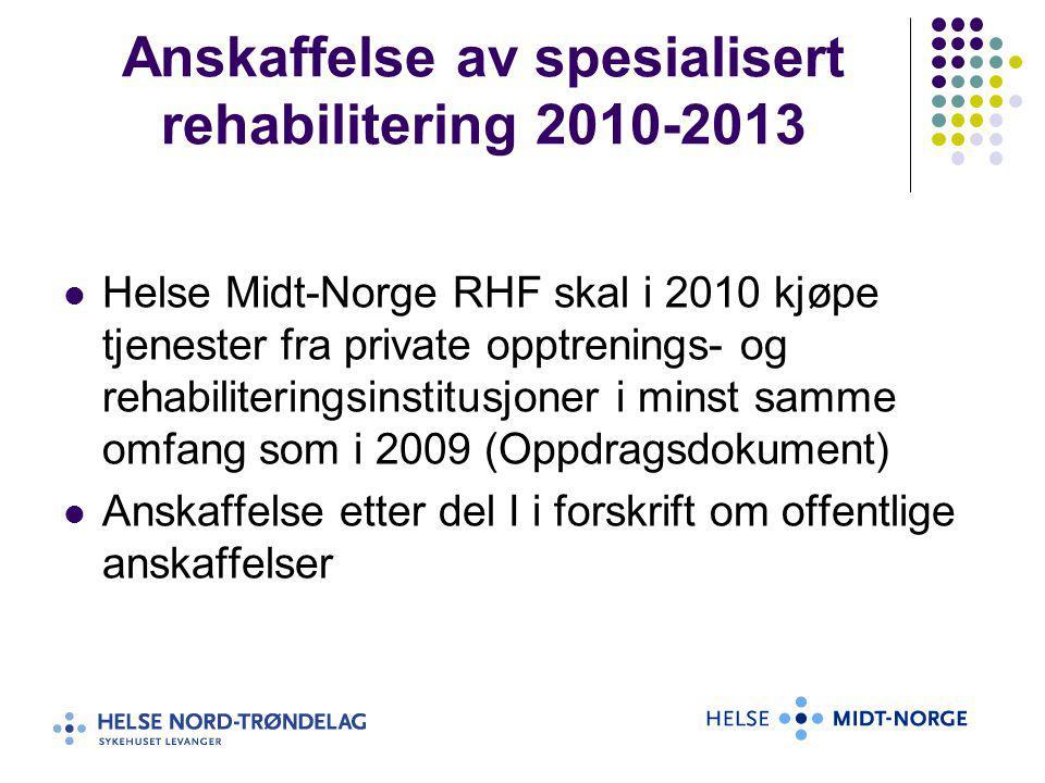 Anskaffelse av spesialisert rehabilitering 2010-2013 Helse Midt-Norge RHF skal i 2010 kjøpe tjenester fra private opptrenings- og rehabiliteringsinsti