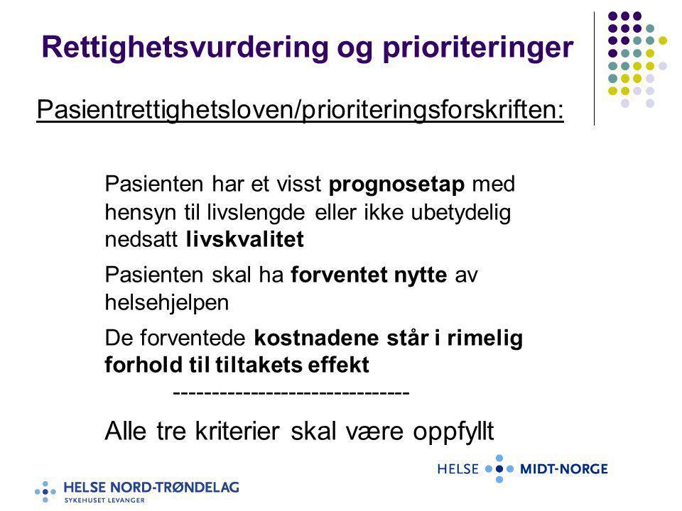 Rettighetsvurdering og prioriteringer Pasientrettighetsloven/prioriteringsforskriften: Pasienten har et visst prognosetap med hensyn til livslengde el