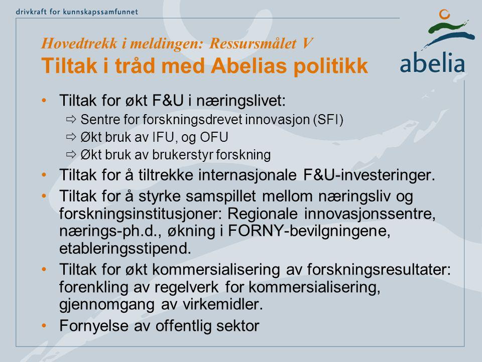 Tiltak for økt F&U i næringslivet:  Sentre for forskningsdrevet innovasjon (SFI)  Økt bruk av IFU, og OFU  Økt bruk av brukerstyr forskning Tiltak for å tiltrekke internasjonale F&U-investeringer.